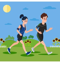 Man and woman with headphones running vector