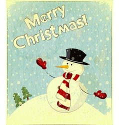 Christmas retro snowman vector