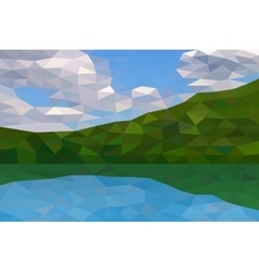 Low poly river and green hills vector