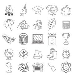 autumn school icon set outline line thin style vector image vector image