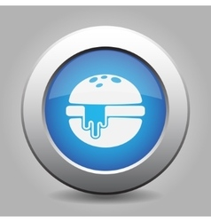 blue metal button - hamburger with melted cheese vector image vector image