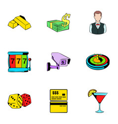 Casino icons set cartoon style vector