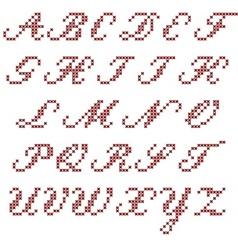 Cross stitch alphabet italic vector image