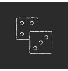 Dices icon drawn in chalk vector