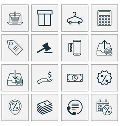 Ecommerce icons set collection of e-trade dollar vector
