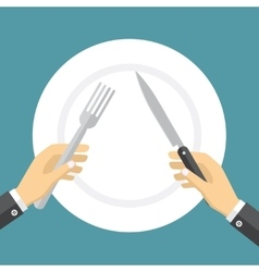 Empty plate and hands holding knife and fork vector