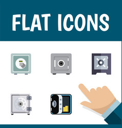 Flat icon safe set of security protection locked vector
