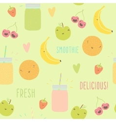 Funny fruits and smoothie jars seamless pattern vector image