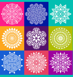 geometric abstract mandala collection vector image vector image