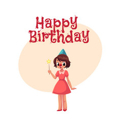 girl celebrating birthday holding star stick vector image vector image