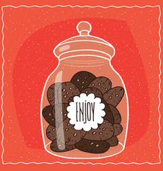 Glass jar with pile of chocolate cookies inside vector
