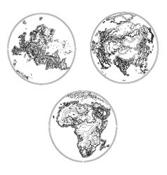 Globes scheme settlement Europe Asia and Africa vector image