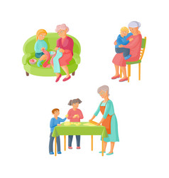 grandmother spending time with grandchildren vector image vector image
