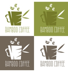 Green bamboo cup with coffee and leaves design vector