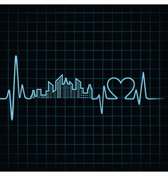Heartbeat make a building design and heart vector image vector image