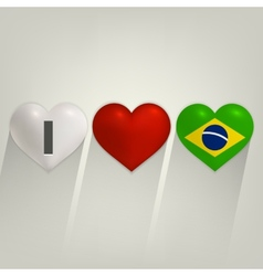 I love Brazil with heart vector image vector image