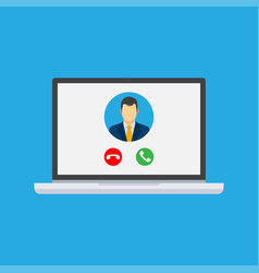 incoming video call on laptop vector image
