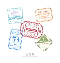 International travel visa stamps vector