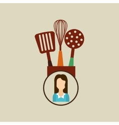 Kitchen utensils icon woman vector