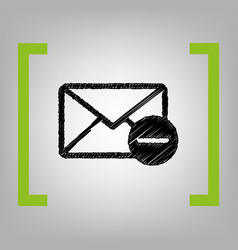 Mail sign black scribble vector