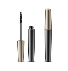 Opened closed black mascara in golden tube vector