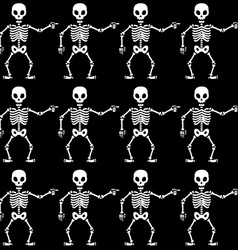 Pointing skeletons pattern vector image