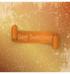 Realistic thanksgiving scroll ribbon vector