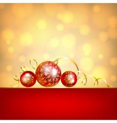 red baubles on golden background vector image vector image