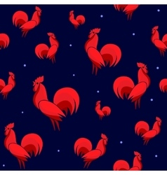 Red Roosters seamless vector image