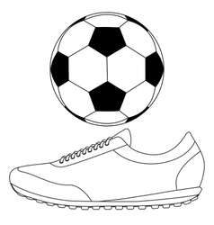 Soccer ball and running shoes icon vector