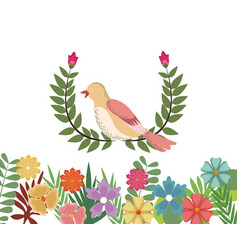 Spring bird flowers decoration nature branch vector