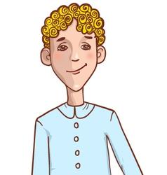 Teenager cartoon boy with curly hair vector image