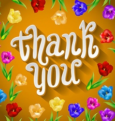 Thank you script greeting card with cute floral vector