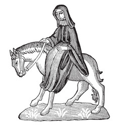 The second nun from chaucers canterbury tales vector