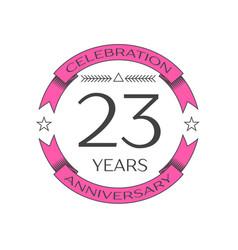 Twenty three years anniversary celebration logo vector