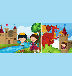 Two fairytale scenes with princess in the tower vector