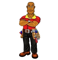 Black man builder vector image