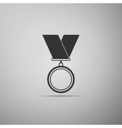 Medal flat icon on grey background vector