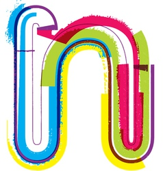 Colorful grunge font letter n vector