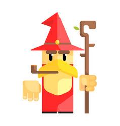 Cartoon garden gnome with smoking pipe fairy tale vector