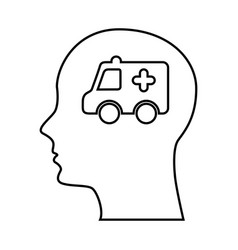 Human profile with ambulance vector
