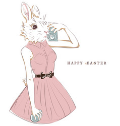 Easter bunny with egg and camera selfie hipster vector