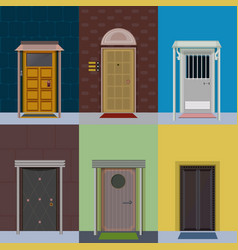 flat colorful elegant entry doors set vector image