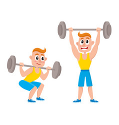 Young man training with barbell - squatting doing vector
