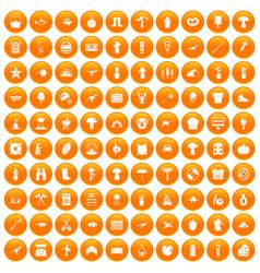 100 hobby icons set orange vector