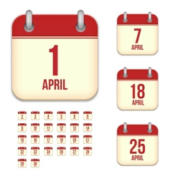 April calendar icons vector