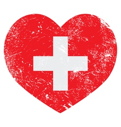 Switerland heart retro flag vector image