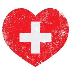 Switerland heart retro flag vector image