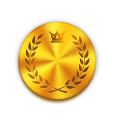 Empty textured golden metal button with crown and vector