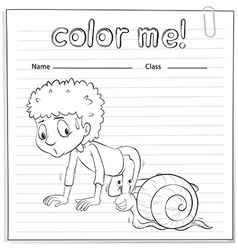 A color me worksheet with a kid and a snail vector
